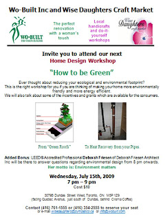 Flyer: Wo-Built Inc. and Wise Daughters Home Design Workshop: How to Be Green