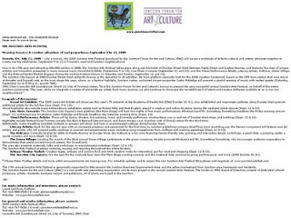 Screenshot: Press-Release: Junction Arts Festival: Weaving Mosaics: creative adventure; September 9 to 13, 2009