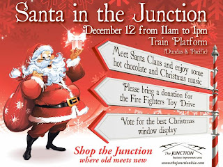 Poster: Santa in the Junction Event December 12, 2009 at Train Platform, Dundas Street West and Pacific Avenue, West Toronto Junction BIA
