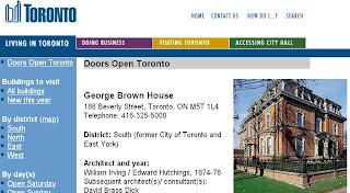 Screenshot: Doors Open Toronto: George Brown House, 2010