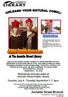 Toronto Public Library Annette Street Branch Stand-up Sketch Comedy Workshops with Neil Ross Summer 2010, by artjunction.blogspot.com