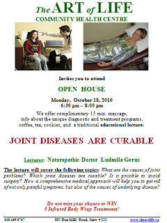 Open House: Joint Diseases Are Curable, Liudmyla Gerus, Toronto, Art of Life Health Centre, theartlife.ca