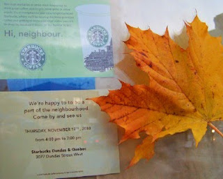 Hi, starbucks, invitation to new Junction Starbucks Dundas & Quebec, Toronto ON Canada, by artjunction.blogspot.com