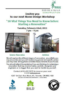 flyer: Wo-Built home design workshop how-to plan renovation, 10 vital things to know before starting renovation