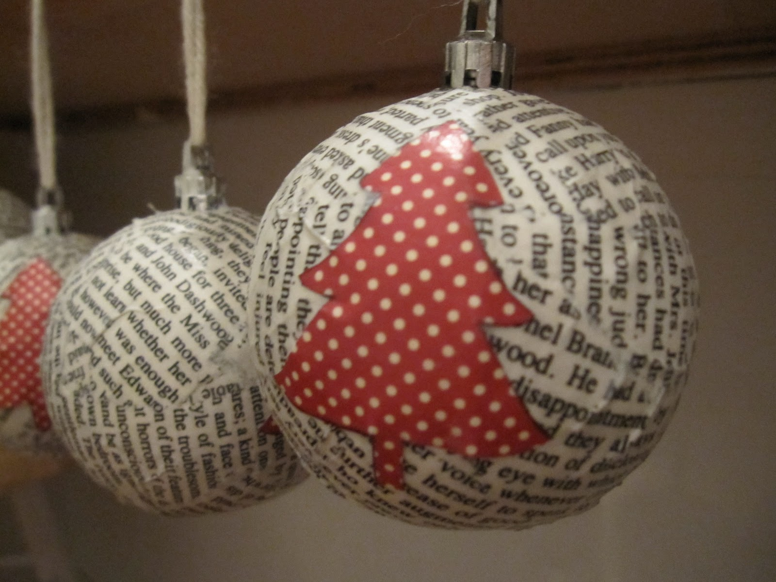Loving city living diy paper mache christmas ornaments for Papier mache decorations