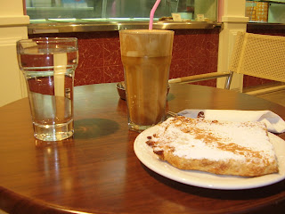 Cream pie and frappe in Zakynthos Town