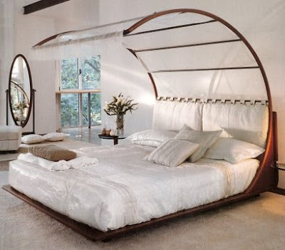 A canopy bed isn't too bad but I can't imagine those cicakz taik atas sana!