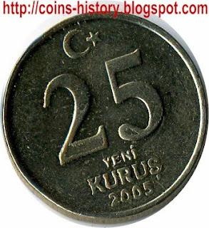 Turkey coin Moneda Kurus piastre Турецкая монета Куруш или Пиастр Münze 25  kuruş monnaie de change