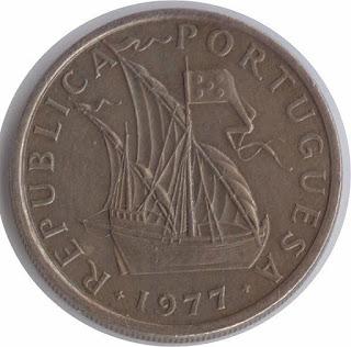 Numismatics Moneda escudos coin Portugal caravel carabelas эскудо Португалия каравелла латинас Republica Portuguesa Münze caravelle pièce