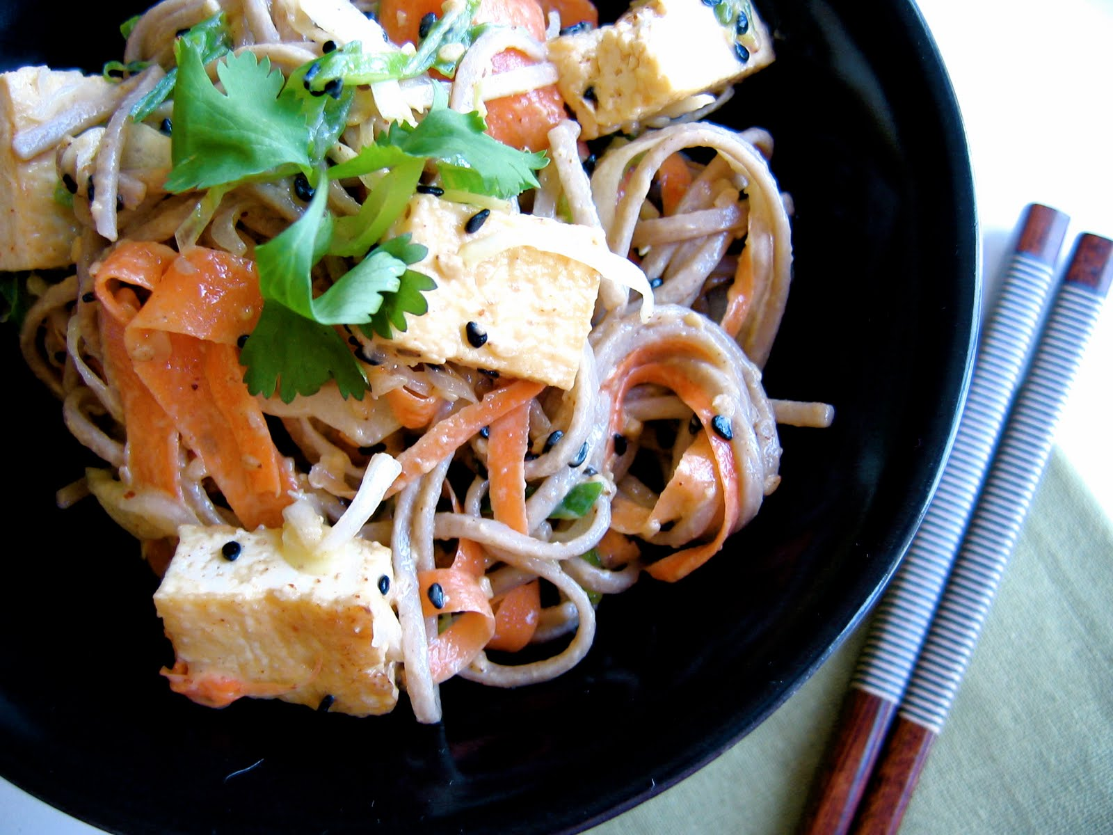 chilled noodle salad tossed with vegetables, crispy tofu, and a creamy ...