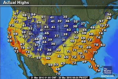 >21 March, 2010: Upside Down: Sub-freezing highs and snow in Oklahoma, Upper 60s to near 70 in Maine
