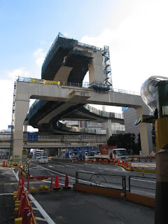 Overhead highway construction, Yamate-dori.