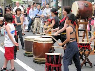 Children's drumming troupe at Yoyogi-hachiman street festival, Tokyo.