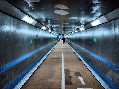 Kanmon Pedestrian Tunnel - border line between Yamaguchi and Fukuoka prefectures