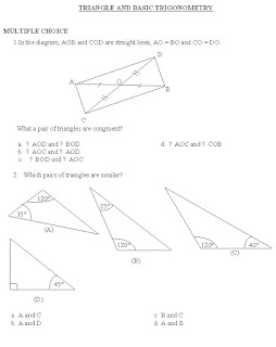 MATH WORKSHEET: TRIANGLE AND BASIC TRIGONOMETRY
