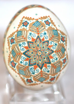 Brown Chicken Egg Pysanky Etched and Dyed Orange and Blue Traditional Star Pattern