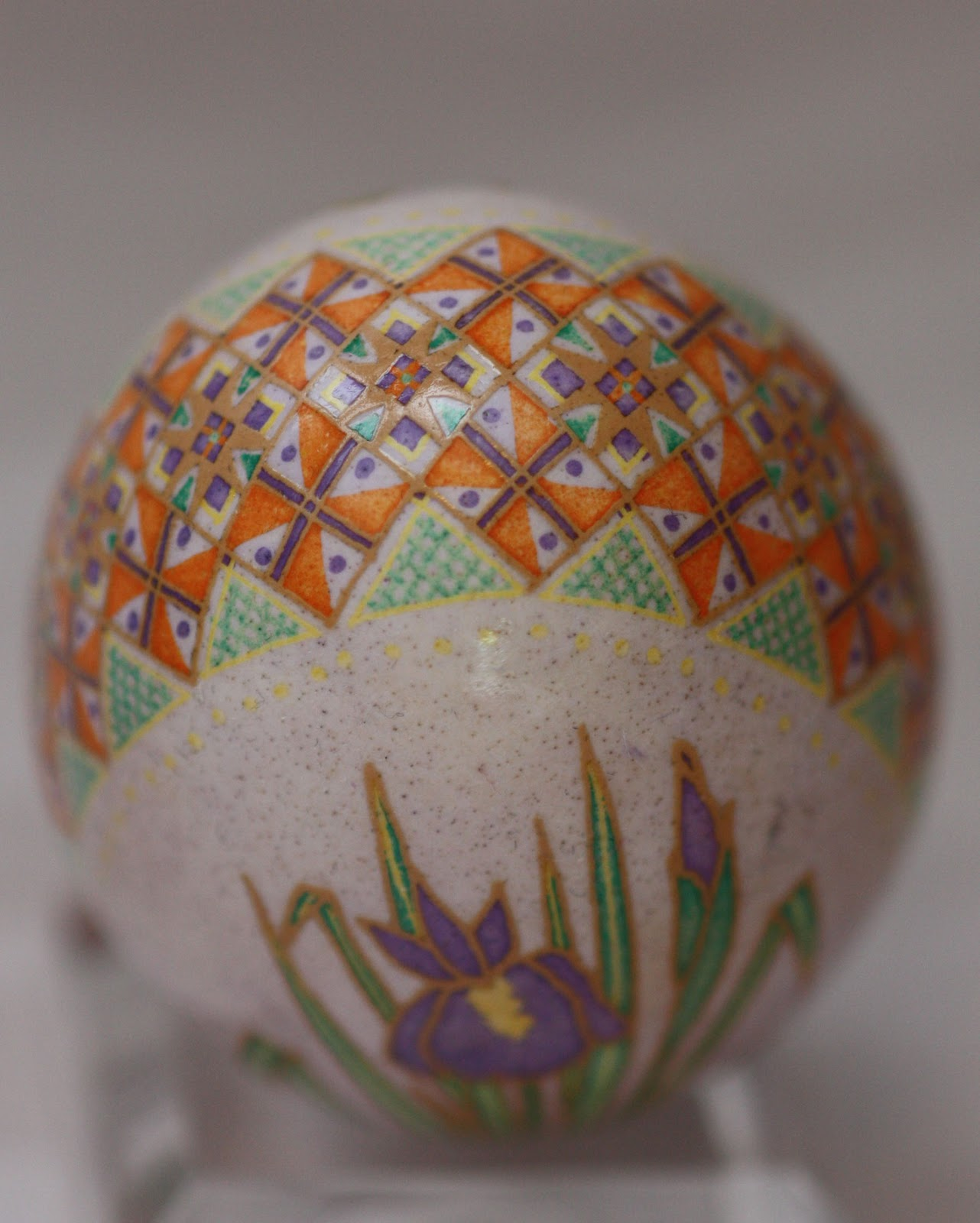 Purple Iris Pysanky on Lavender with Orange and Green Accents