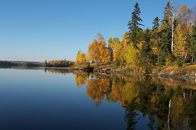 Bow Narrows Camp in autumn