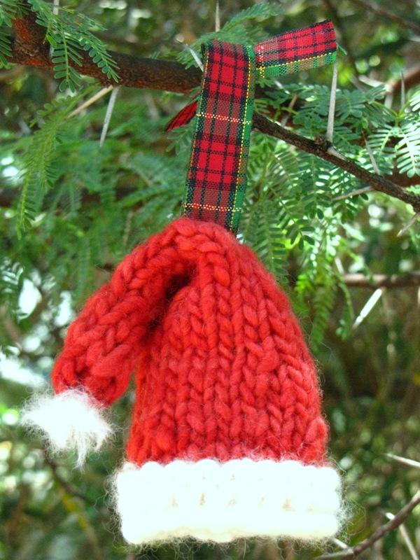 Knitted Christmas Ornaments Patterns : Knitted Santa Hat Christmas Ornament Pattern - Natural Suburbia