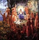 Sri Nitai teaching all Chaitanaya's sanayasins the Hare Krishna Mahamantra....