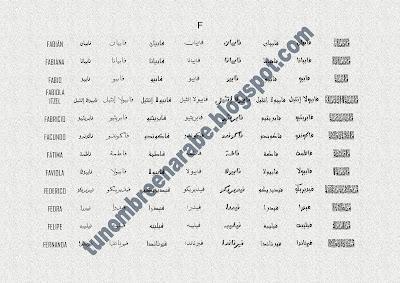 Los nombres de FABIÁN,  FABIANA,  FABIO,  FABIOLA ITZEL,  FABRICIO,  FACUNDO,  FÁTIMA,  FAVIOLA,  FEDERICO,  FEDRA,  FELIPE,  FERNANDA escritos en árabe