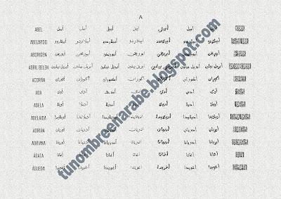 Los nombres de ABEL,  ABELARDO,  ABORIGEN,  ABRIL BELEN,  ACORÁN,  ADA,  ADELA,  ADELAIDA,  ADRIÁN,  ADRIANA,  ÁGATA,  ÁGUEDA escritos en árabe