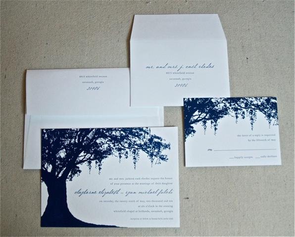 Spanish Moss Themed Wedding Invitations {letterpress, Savannah, Ga} | Emily  McCarthy