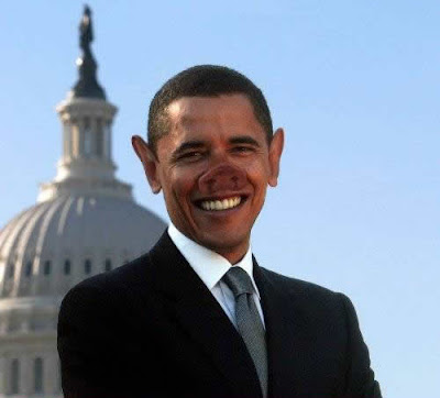 live president Obama with his funny face.