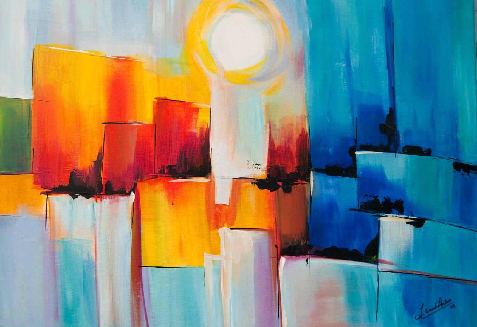 El atelier de lia abstracto con luna - Como pintar un cuadro moderno ...