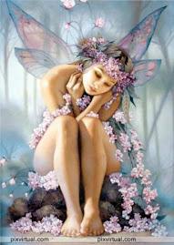 el hada de las  flores cual guirnaldas la cubren de magia infinita