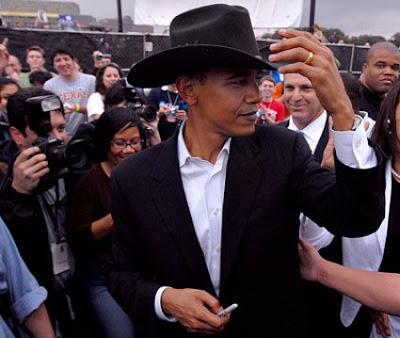 Obama in cowboy hat
