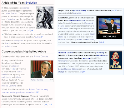 Conservapedia front page items