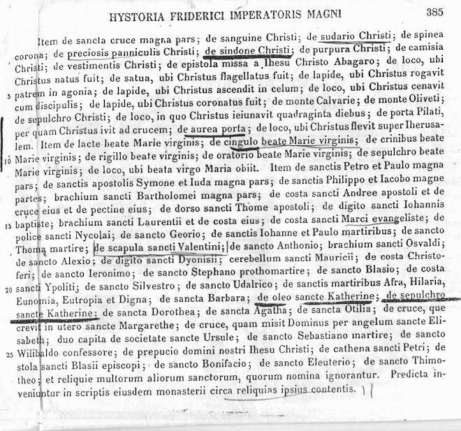 Elenco delle reliquie del Golgota , ritrovate poi in gran parte  in archivio  princess Yasmin