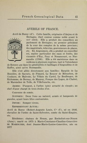 Principi Avril de Saint Genis  (ramo de Burey (n)comtes d'Anjou, il ramo cadetto era detto Averils