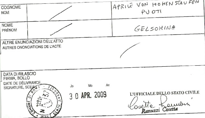 cert.anamnestico Aprile von Hohenstaufen Puoti Gelsomina (1946)