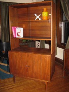 Red Painted Sideboard Decorate In Room
