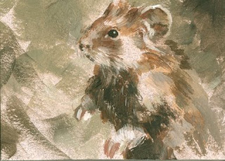 hamster painting aceo