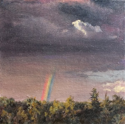 rainbow oil painting