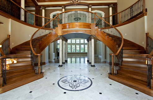 Beautiful double curved staircases in texas luxury for Double curved staircase