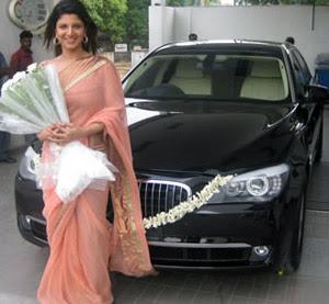 ramba, rambha with BMW Car