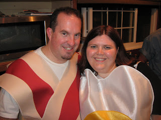 John and Cassie, dressed as Bacon and Eggs