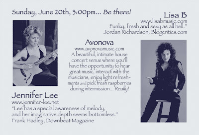 back of postcard for house concert by Lisa B (Lisa Bernstein) and Jennifer Lee