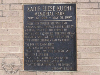 Zadie E. Kuehl Memorial Plaque