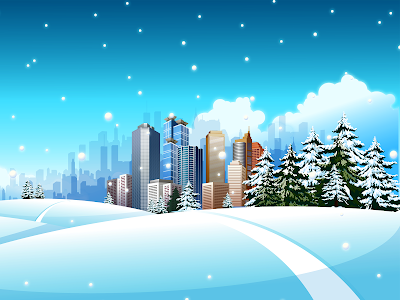 holiday snow skyline