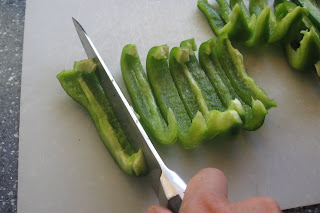 cut bell peppers into strips