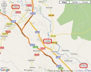 Mapa de la zona con Alfaro, Tudela y Buñuel señalados