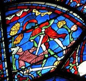 Vidriera de la catedral de Chartres (Roldán hiriendo a Farragut)