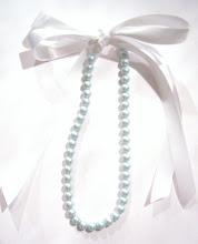 oOoH BaBy BLue 6mm PeaRL & RiBBoN NecKLaCe