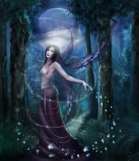 Dibujo Hada sensual oscura de noche