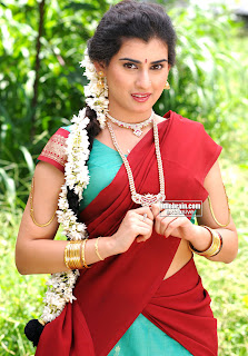 Archana Veda in lovely Red Saree Traditional Archana Veda